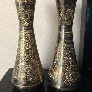 "Handcrafted Antique 2 Brass vase 10"""